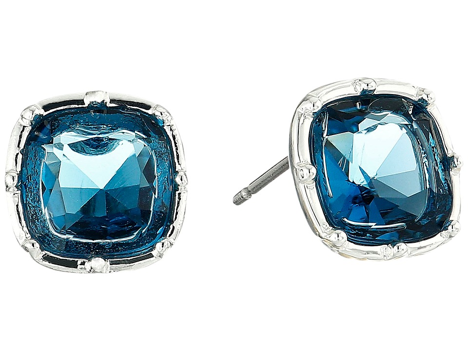 LAUREN by Ralph Lauren - Faceted Cushion Stud Earrings (Blue) Earring