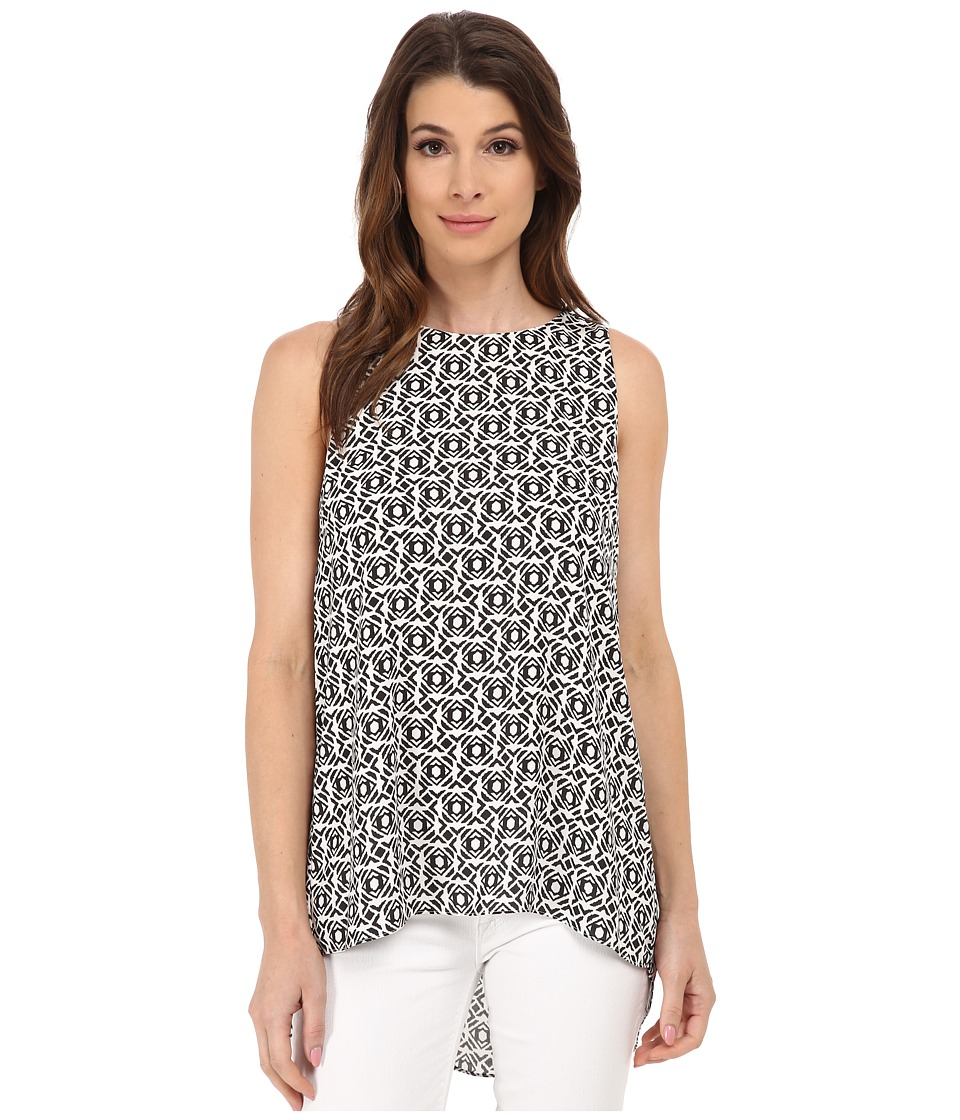 Vince Camuto - Sleeveless Nomad Stamp High-Low Hem Blouse (Rich Black) Women