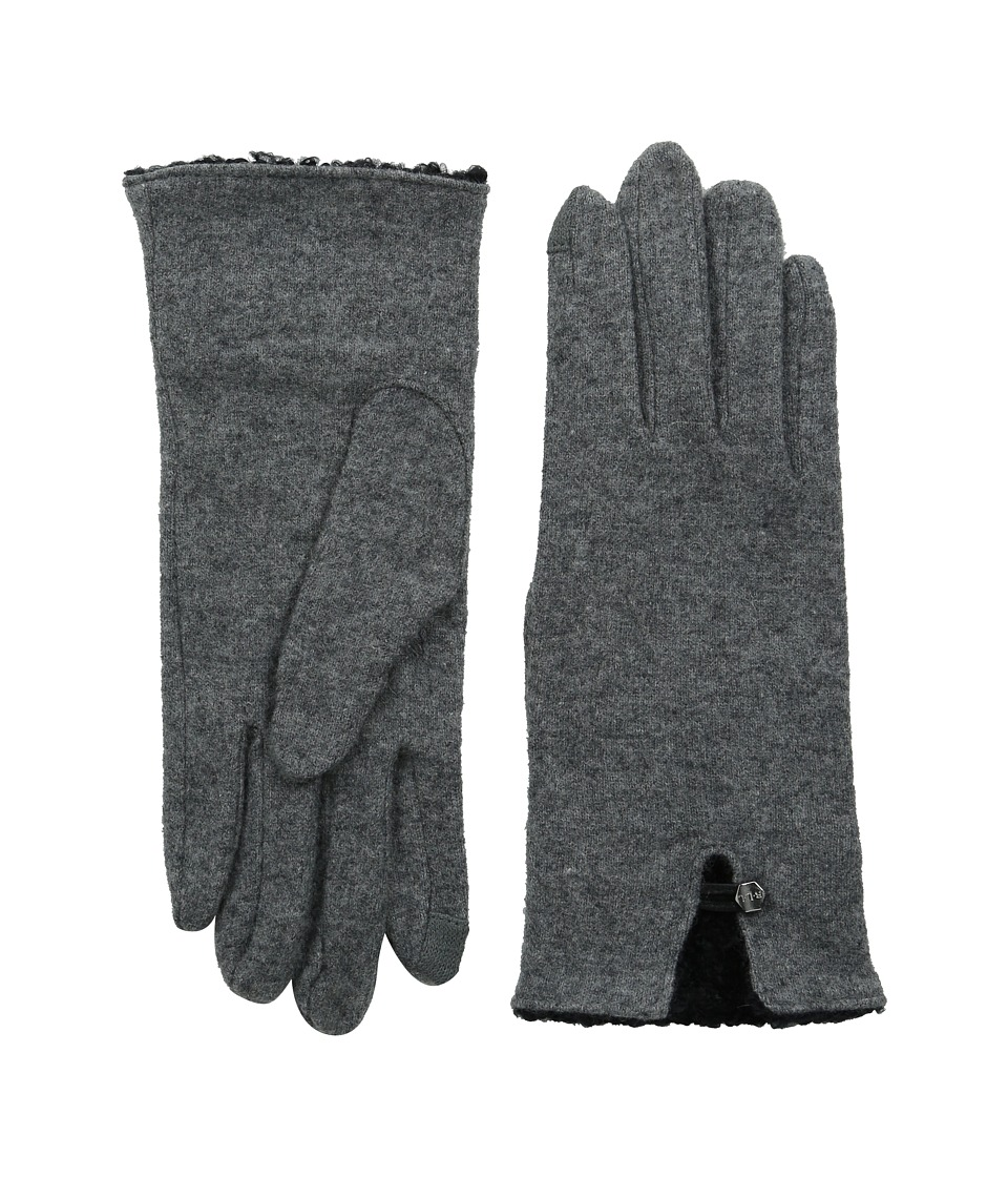 LAUREN by Ralph Lauren - Boucle Cuff Touch Glove (Heather Grey/Black Boucle) Wool Gloves