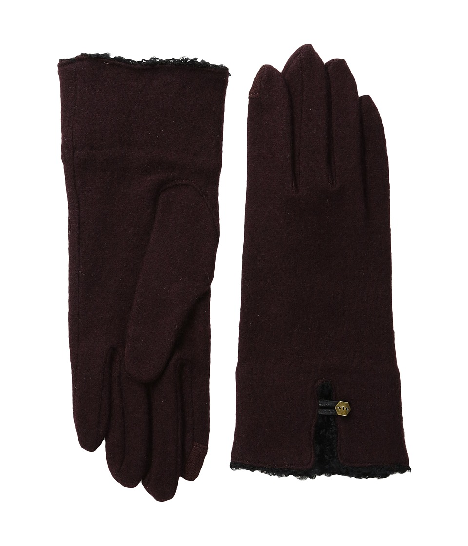LAUREN by Ralph Lauren - Boucle Cuff Touch Glove (Oxblood/Black) Wool Gloves