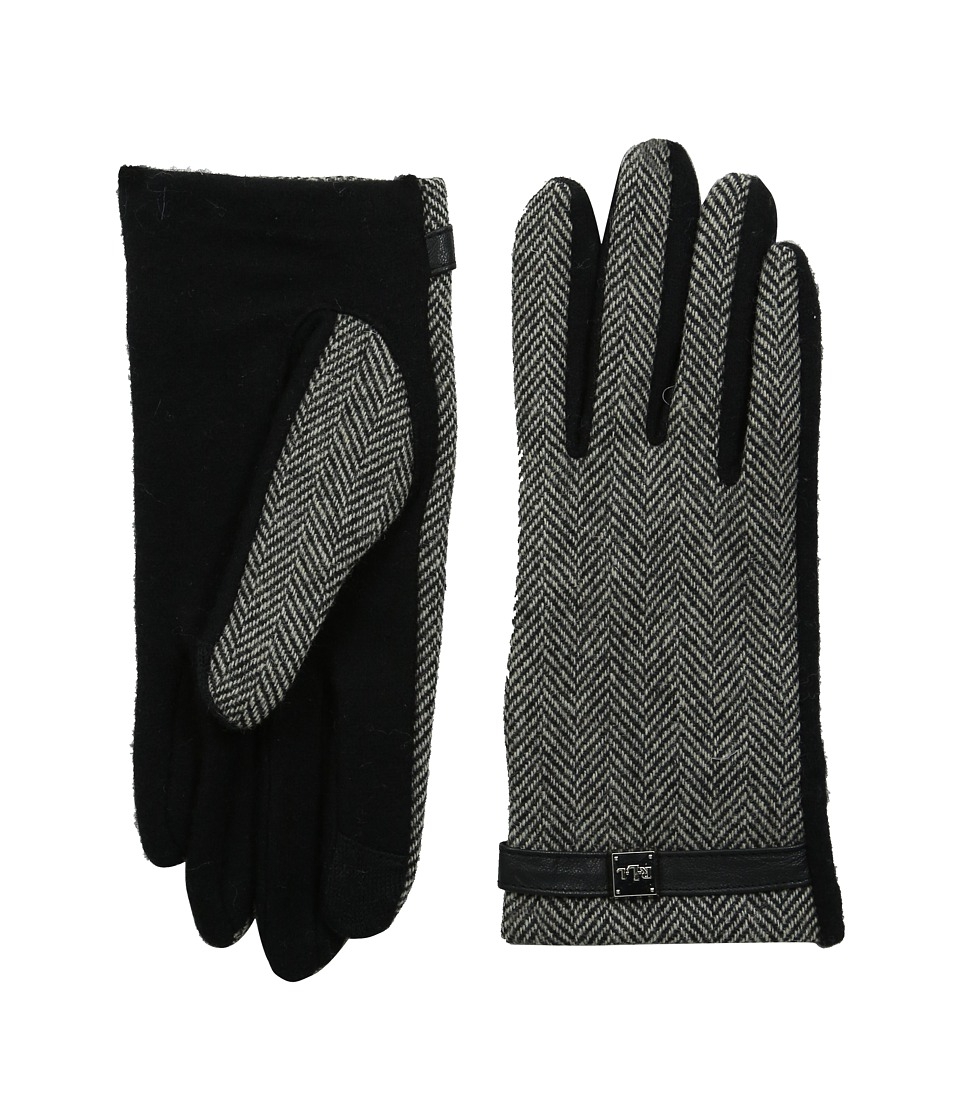LAUREN by Ralph Lauren - Herringbone Logo Cube Touch Glove (Black/Cream Herringbone) Wool Gloves