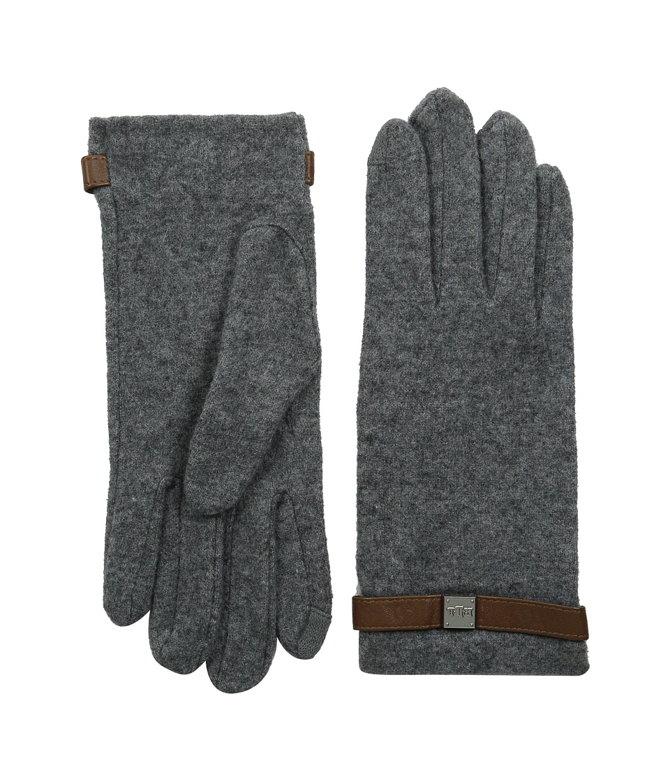 LAUREN by Ralph Lauren - Logo Cube Belted Touch Glove (Heather Grey/Black Boucle) Wool Gloves