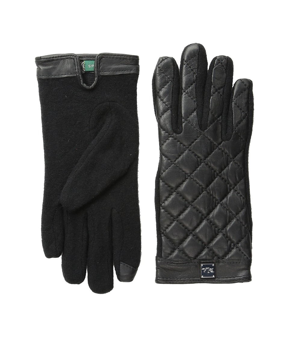LAUREN by Ralph Lauren - Quilted Logo Cube Touch Glove (Black) Wool Gloves