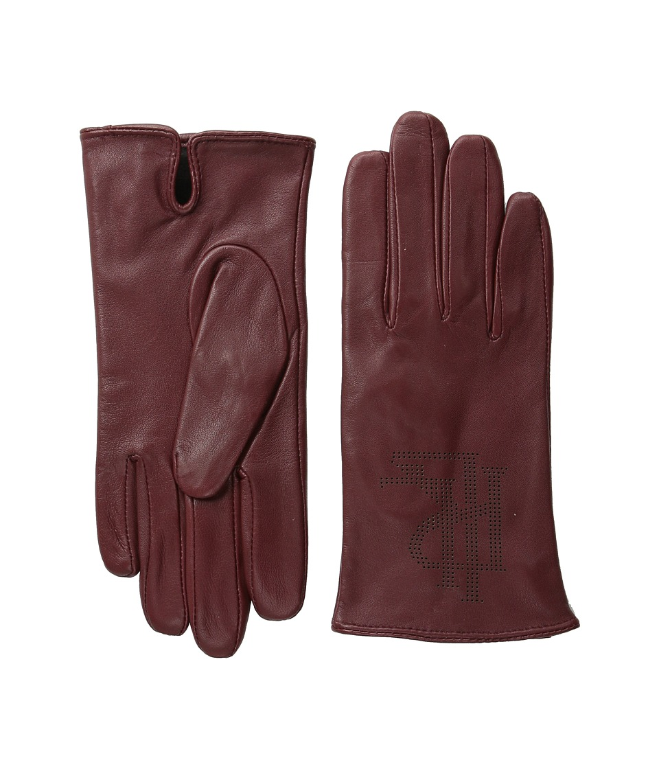 LAUREN by Ralph Lauren - Perfed Logo Glove (Oxblood) Wool Gloves