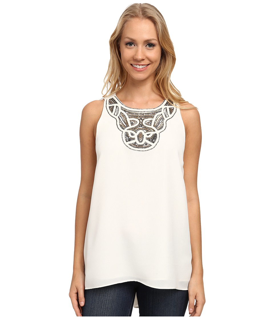 Vince Camuto - Sleeveless High-Low Hem Blouse w/ Neck Embelishment (New Ivory) Women's Blouse