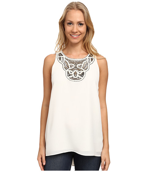 Vince Camuto - Sleeveless High-Low Hem Blouse w/ Neck Embelishment (New Ivory) Women