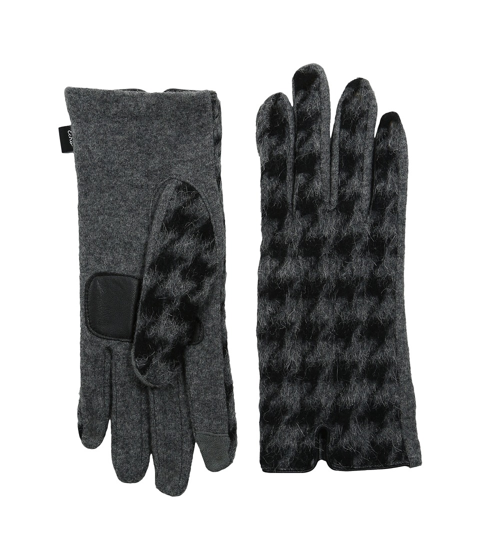 Echo Design - Touch Houdstooth Gloves (Grey Heather) Dress Gloves