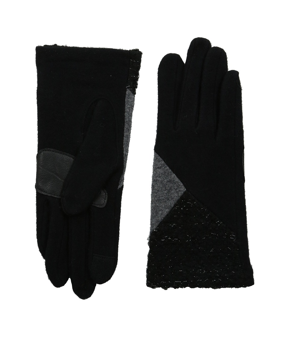 Echo Design - Touch Mixed Metallic Boucle Gloves (Black) Dress Gloves
