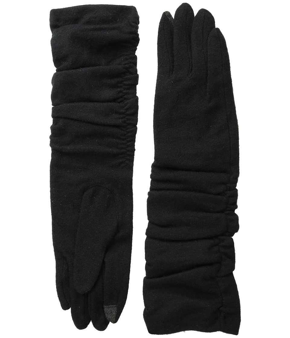Echo Design - Touch Long Rouched Gloves (Black) Dress Gloves