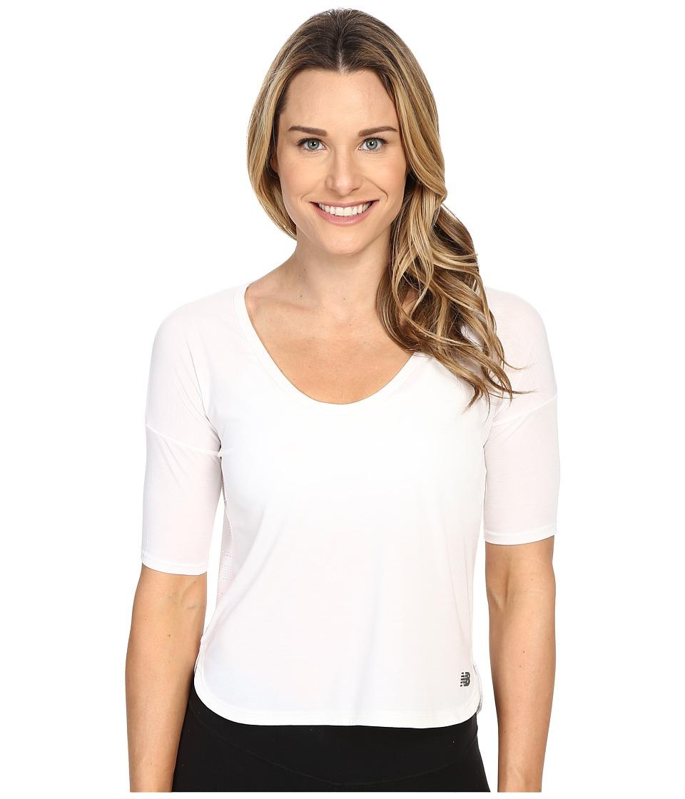 New Balance - Favorite Tee (White) Women's Short Sleeve Pullover