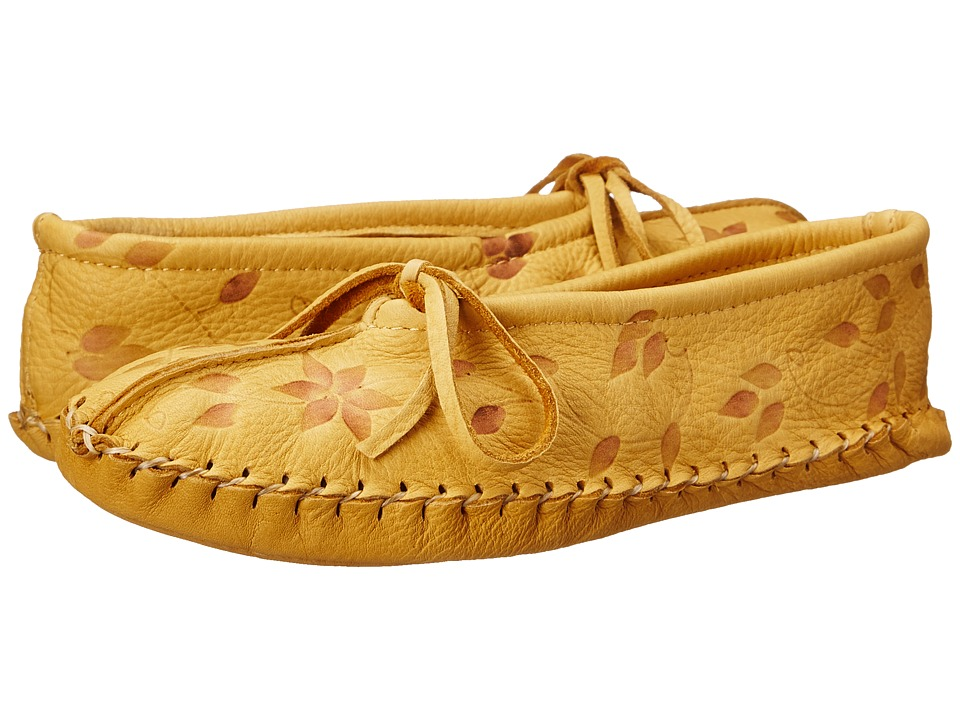 Manitobah Mukluks - Deerskin Slipper Floral Design (Tan) Women's Slippers