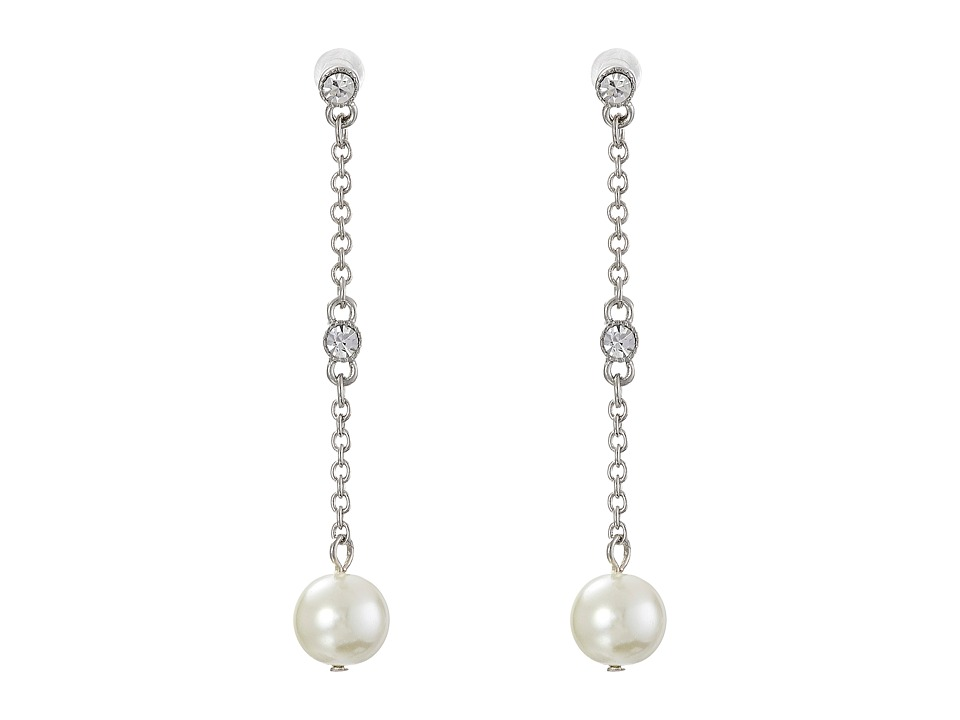 LAUREN by Ralph Lauren - Faceted Stone and Pearl Linear Earrings (White) Earring