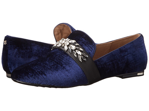 Yosi Samra - Pippa Luxe Velvet Slipper with Rhinestone Embellishment (Inido/Black) Women's Slippers
