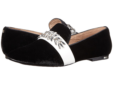 Yosi Samra - Pippa Luxe Velvet Slipper with Rhinestone Embellishment (Black/White) Women's Slippers