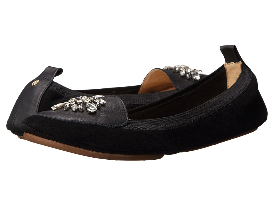 Yosi Samra - Orly Kid Suede Loafer with Rhinestone Embellishment (Black) Women's Shoes