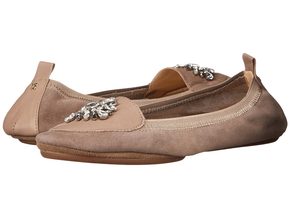 Yosi Samra - Orly Kid Suede Loafer with Rhinestone Embellishment (Mink) Women's Shoes