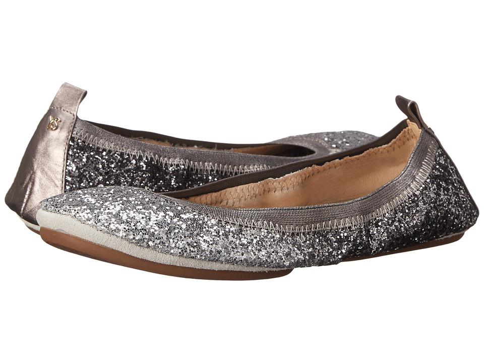 Yosi Samra - Serena Ombre Chunky Glitter Fold Up Flat (Oxidized Silver) Women's Flat Shoes