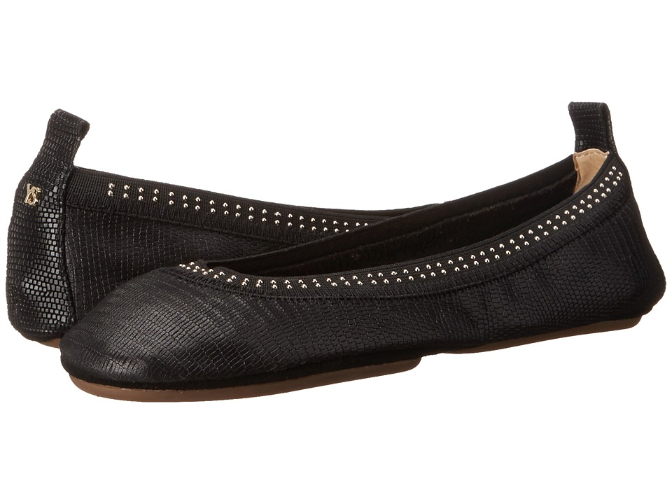 Yosi Samra - Samara Lagarto Leather Fold Up Flat with Stud Detail (Black) Women's Flat Shoes
