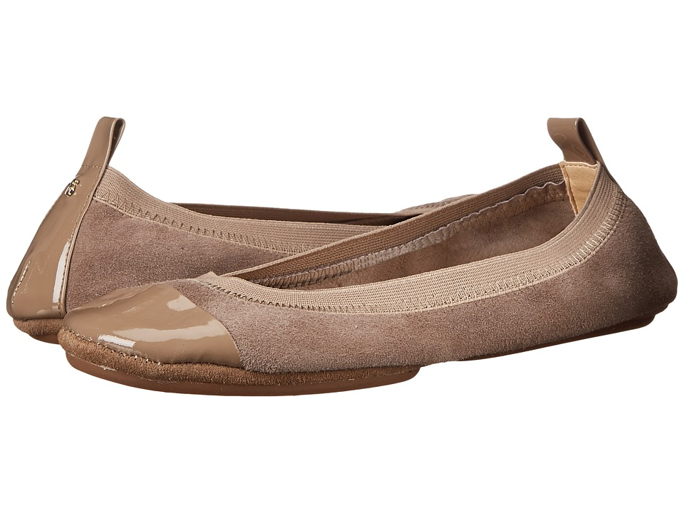Yosi Samra - Samantha Kid Suede Fold Up Flat with Patent Captoe (Mink) Women's Flat Shoes