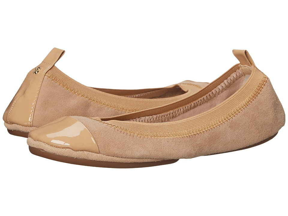 Yosi Samra - Samantha Kid Suede Fold Up Flat with Patent Captoe (Latte) Women's Flat Shoes