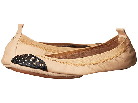 Yosi Samra - Samantha Soft Leather Fold Up Flat with Fully Stud Captoe (Latte/Black) Women's Flat Shoes