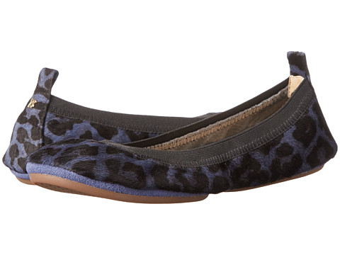 Yosi Samra - Samara Calf Hair Fold Up Flat (Blue Velvet Jaguar) Women's Flat Shoes