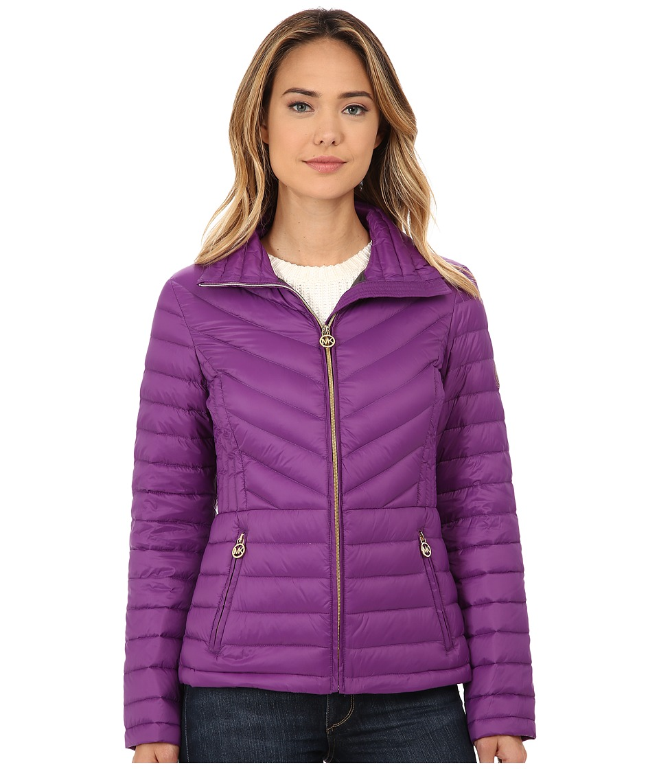 MICHAEL Michael Kors - Short Zip Packable Down (Violet) Women's Coat