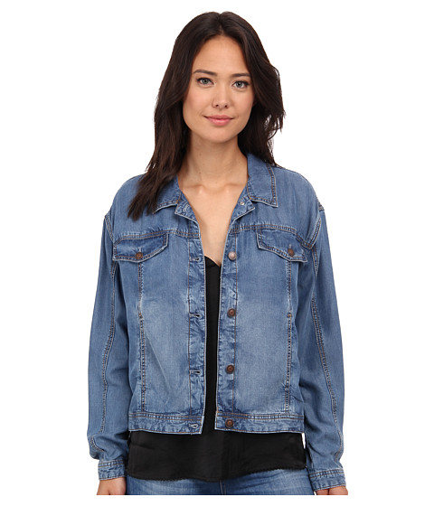 Free People - Tencel Swing Jacket (Sapphire) Women's Jacket
