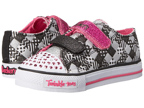SKECHERS KIDS - Patchwork Party 1067N (Toddler) (Black/White/Pink) Girl