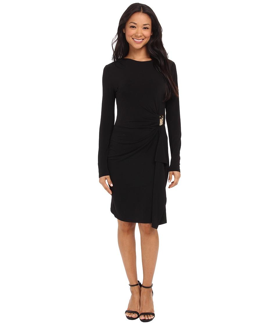 MICHAEL Michael Kors - Logo Plate Trim Matter Jersey Dress (Black/Gold) Women's Dress