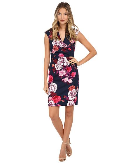 Adrianna Papell - Pleated Side Wrap Printed Sheath Dress (Navy Multi) Women
