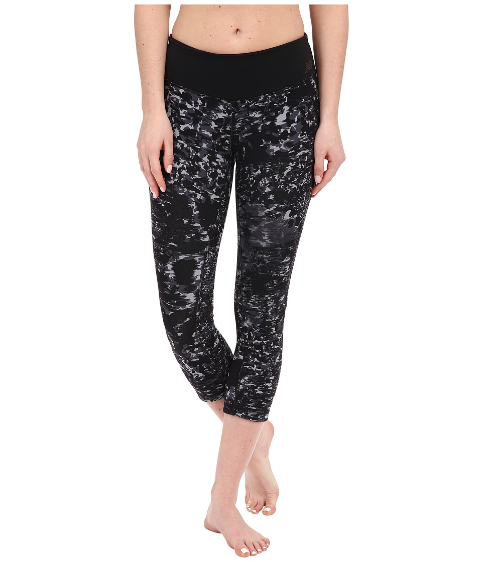 New Balance Premium Performance Capri Print Pants (Black/Grey) Women