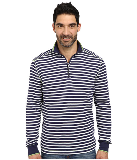 Robert Graham - Windjammer Long Sleeve Stripe Zip Mock (Navy) Men