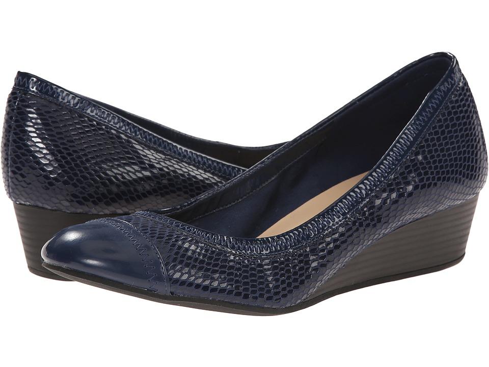 Cole Haan - Elsie Cap Toe Wedge II (Blazer Blue Snake Print) Women's Wedge Shoes