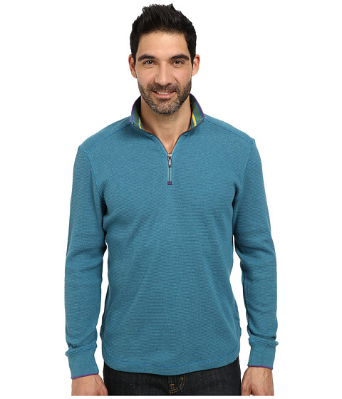 Robert Graham - Skyjammer Long Sleeve Solid Zip Mock (Mosaic Blue) Men's Long Sleeve Pullover