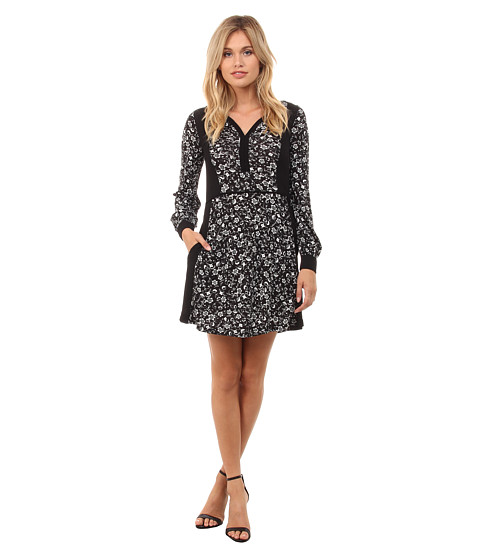 French Connection - Daisy Rave Jersey Dress 71EDD (Black/Winter White) Women