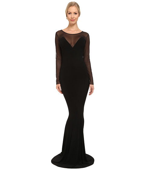 KAMALIKULTURE by Norma Kamali - Long Sleeve Fishtail Gown (Black/Black Mesh) Women's Dress