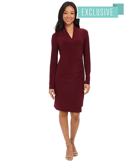 KAMALIKULTURE by Norma Kamali - Long Sleeve Side Draped Dress (Purple) Women