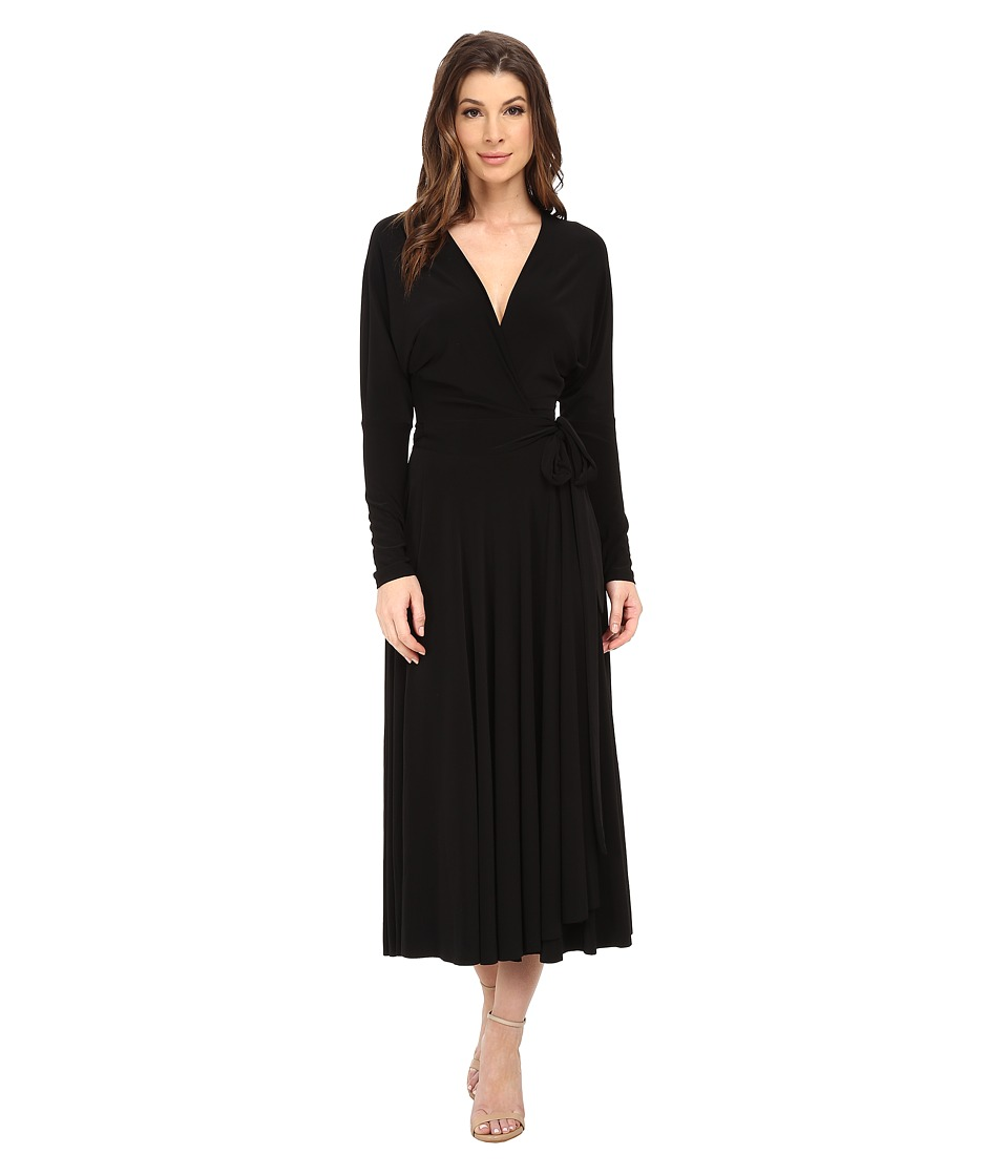 KAMALIKULTURE by Norma Kamali - Dolman Front Back Wrap Flair Dress (Black) Women's Dress