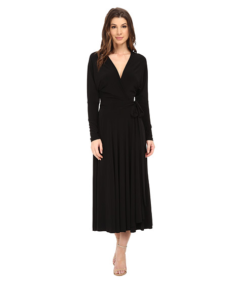 KAMALIKULTURE by Norma Kamali - Dolman Front Back Wrap Flair Dress (Black) Women