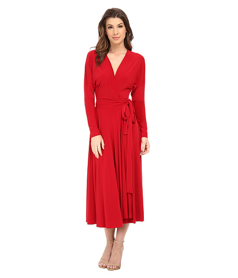 KAMALIKULTURE by Norma Kamali - Dolman Front Back Wrap Flair Dress (Red) Women