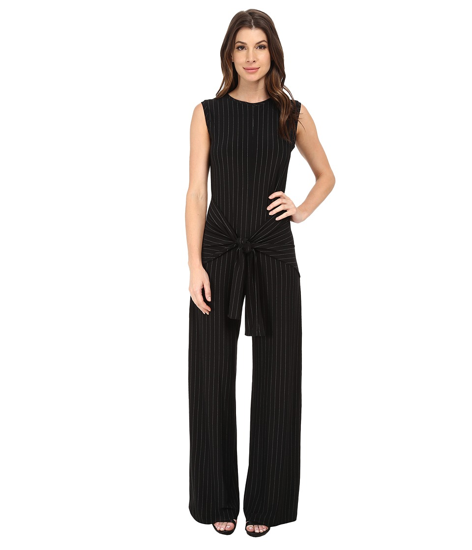KAMALIKULTURE by Norma Kamali - Sleeveless Tie Front Jumpsuit (Pinstripe) Women's Jumpsuit & Rompers One Piece
