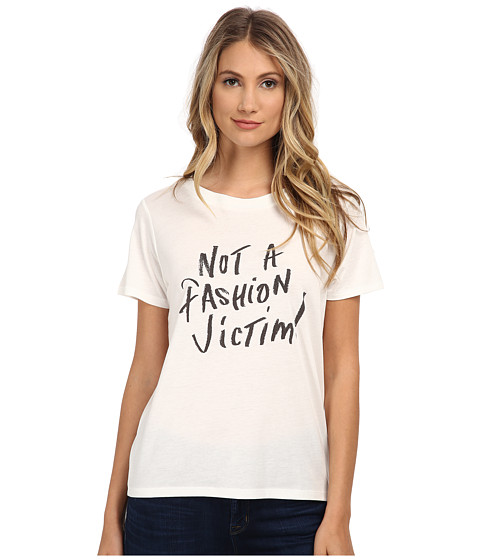 French Connection - Not A Fashion Victim T-Shirt 76EBP (Winter White/Black) Women's T Shirt