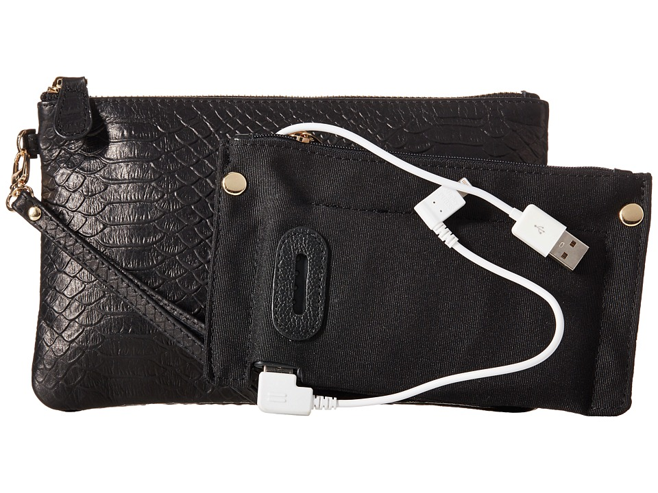 Mighty Purse - Stamped Cow Leather Charging Wristlet (Reptile Black) Wristlet Handbags