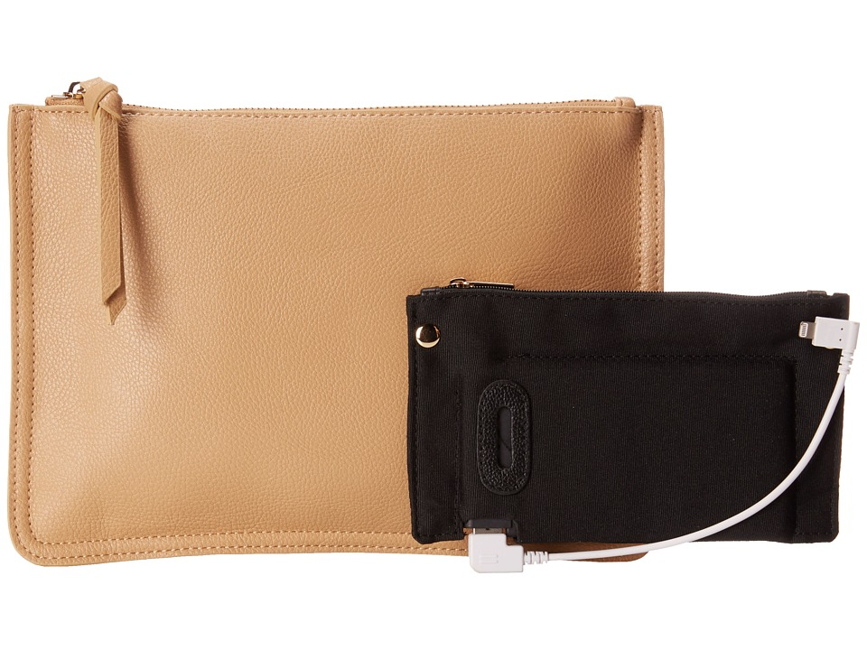 Mighty Purse - Vegan Leather Charging Clutch (Two-Tone/Turquoise/Tan) Clutch Handbags