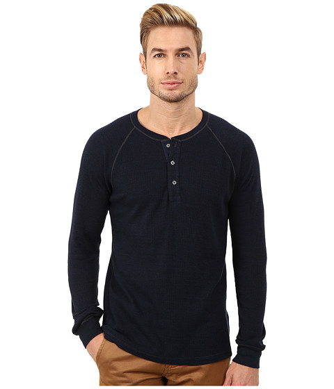 AG Adriano Goldschmied - Commute Raglan Henley (Heather Blue Night) Men