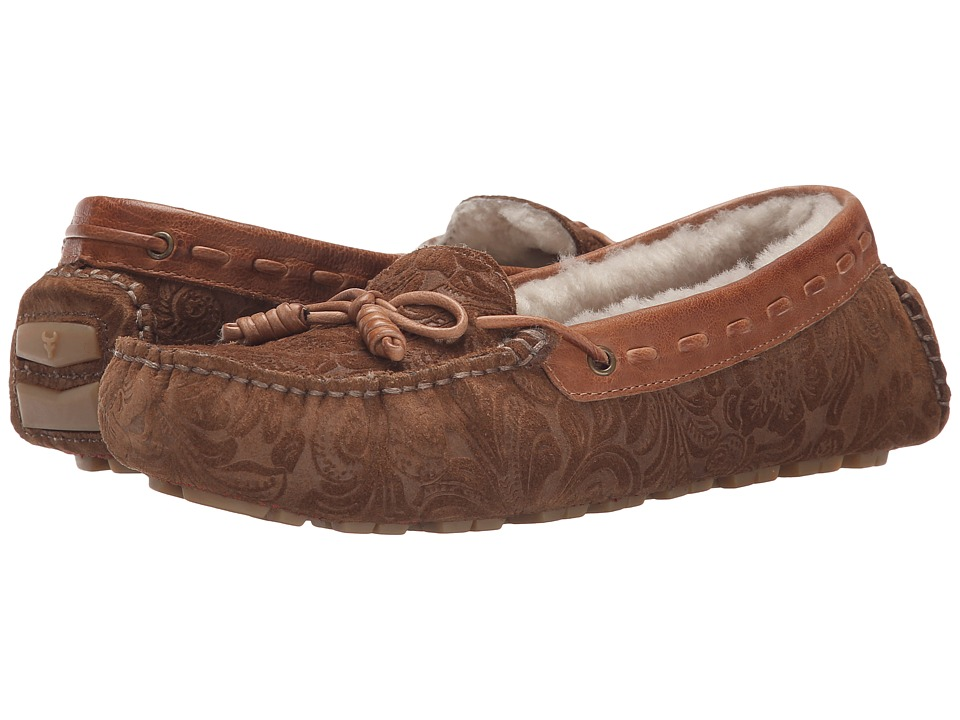 Trask - Sophie Shearling (Whiskey Tooled Suede) Women's Slip on Shoes