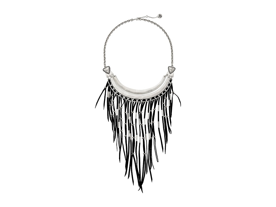 The Sak - Black Fringe Bib Necklace 16 (Black/Silver) Necklace