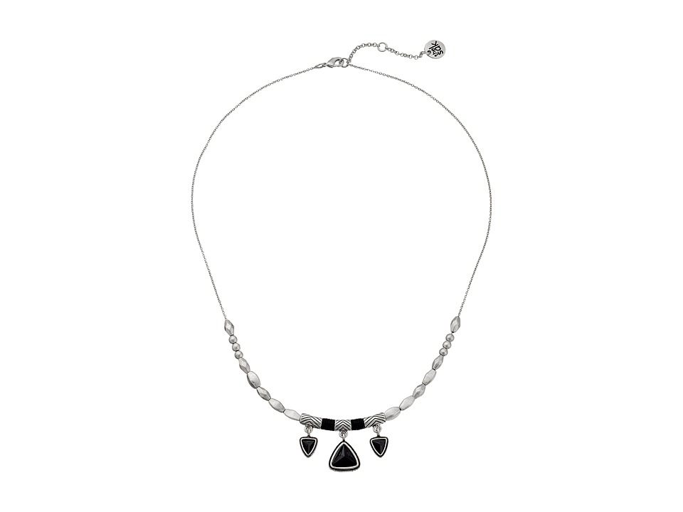 The Sak - Triangle Frontal Necklace 18 (Black/Silver) Necklace