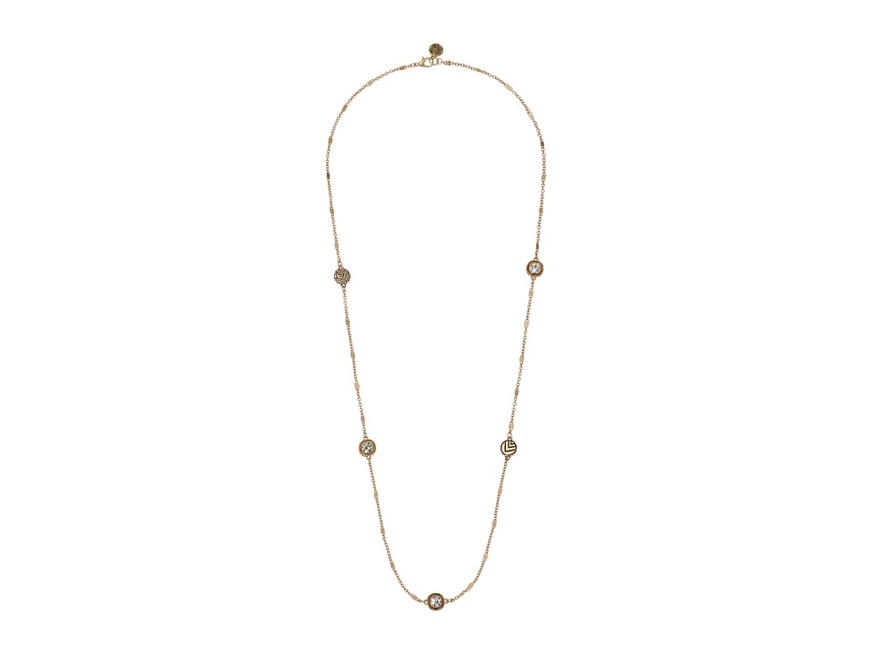 The Sak - Stone Station Necklace 30 (Crystal/Gold) Necklace